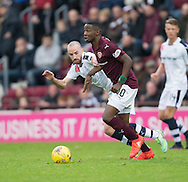 Hearts&rsquo; Arnaud Sutchuin Djum and Dundee&rsquo;s James Vincent - Hearts v Dundee, Ladbrokes Scottish Premiership at Tynecastle, Edinburgh. Photo: David Young<br /> <br />  - &copy; David Young - www.davidyoungphoto.co.uk - email: davidyoungphoto@gmail.com