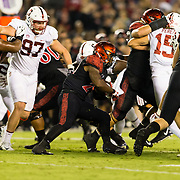 16September 2017: San Diego State Aztecs running back Juwan Washington (29) seen here rushing the ball in the first quarter. The Aztecs lead Stanford 10-7 at half time at San Diego Stadium. <br /> www.sdsuaztecphotos.com