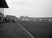 Irish Rugby Football Union, Ireland v England, Five Nations, Landsdowne Road, Dublin, Ireland, Saturday 11th February, 1967,.11.2.1967, 2.11.1967,..Referee- D M Hughes, Welsh Rugby Union, ..Score- Ireland 3 - 8 England, ..Irish Team, ..T J Kiernan,  Wearing number 15 Irish jersey, Full Back, Cork Constitution Rugby Football Club, Cork, Ireland,..D Scott, Wearing number 14 Irish jersey, Right Wing, Queens University Rugby Football Club, Belfast, Northern Ireland, ..F P K Bresnihan, Wearing number 13 Irish jersey, Right Centre, University College Dublin Rugby Football Club, Dublin, Ireland, ..J C Walsh,  Wearing number 12 Irish jersey, Left Centre, Sundays Well Rugby Football Club, Cork, Ireland, ..N H Brophy, Wearing number 11 Irish jersey, Left wing, Blackrock College Rugby Football Club, Dublin, Ireland, ..C M H Gibson, Wearing number 10 Irish jersey, Stand Off, N.I.F.C, Rugby Football Club, Belfast, Northern Ireland, ..B F Sherry, Wearing number 9 Irish jersey, Scrum Half, Terenure Rugby Football Club, Dublin, Ireland, ..K G Goodall, Wearing number 8 Irish jersey, Forward, Newcastle University Rugby Football Club, Newcastle, England, ..M G Doyle, Wearing number 7 Irish jersey, Forward, Edinburgh Wanderers Rugby Football Club, Edinburgh, Scotland, ..N Murphy, Wearing number 6 Irish jersey, Captain of the Irish team, Forward, Cork Constitution Rugby Football Club, Cork, Ireland,..M G Molloy, Wearing number 5 Irish jersey, Forward, University College Galway Rugby Football Club, Galway, Ireland,  ..W J McBride, Wearing number 4 Irish jersey, Forward, Ballymena Rugby Football Club, Antrim, Northern Ireland,..P O'Callaghan, Wearing number 3 Irish jersey, Forward, Dolphin Rugby Football Club, Cork, Ireland, ..K W Kennedy, Wearing number 2 Irish jersey, Forward, C I Y M S Rugby Football Club, Belfast, Northern Ireland, ..T A Moroney, Wearing number 1 Irish jersey, Forward, University College Dublin Rugby Football Club, Dublin, Ireland, ..English Team, ..R W Hosen, Wearing