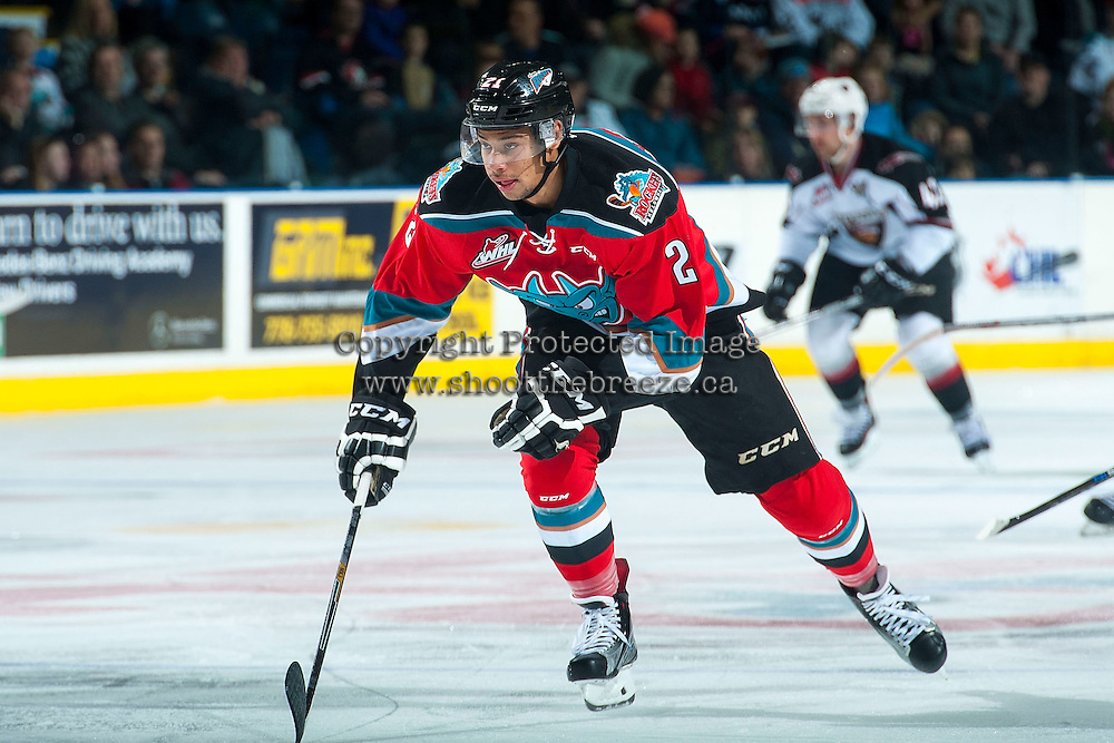 KELOWNA, CANADA - NOVEMBER 11: Devante Stephens #21 of Kelowna Rockets skates against the Vancouver Giants on November 11, 2015 at Prospera Place in Kelowna, British Columbia, Canada.  (Photo by Marissa Baecker/ShoottheBreeze)  *** Local Caption *** Devante Stephens;