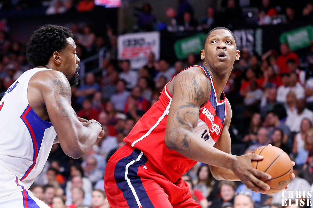 20 March 2015: Washington Wizards center Kevin Seraphin (13) posts up Los Angeles Clippers center DeAndre Jordan (6) during the Los Angeles Clippers 113-99 victory over the Washington Wizards, at the Staples Center, Los Angeles, California, USA.