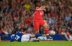 CARDIFF, WALES - Friday, September 5, 2008: Wales' Ched Evans and Azerbaijan's Rashad Sadikhov during the opening 2010 FIFA World Cup South Africa Qualifying Group 4 match at the Millennium Stadium. (Photo by David Rawcliffe/Propaganda)