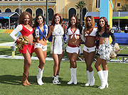 Jan 23, 2019; Kissimmee, FL, USA; San Francisco 49ers, Dallas Cowboys, New Orleans Saints, Arizona Cardinals, Washington Redskins and Los Angeles Rams cheerleaders pose during the 2019 Pro Bowl Skills Challenge at ESPN Wide World of Sports Complex. (Steve Jacobson/Image of Sport)