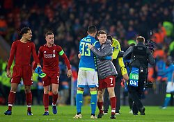 LIVERPOOL, ENGLAND - Tuesday, December 11, 2018: Liverpool's James Milner and Napoli's Raúl Albiol after during the UEFA Champions League Group C match between Liverpool FC and SSC Napoli at Anfield. (Pic by David Rawcliffe/Propaganda)