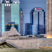 Close-up zoomed-in photo of Downtown Kansas City MO skyline with Liberty Memorial at the National World War I Museum.