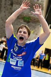 Jure Dolenec #10 of Slovenia after handball match between National teams of Slovenia and Hungary in play off of 2015 Men's World Championship Qualifications on June 15, 2014 in Rdeca dvorana, Velenje, Slovenia. Photo by Urban Urbanc / Sportida