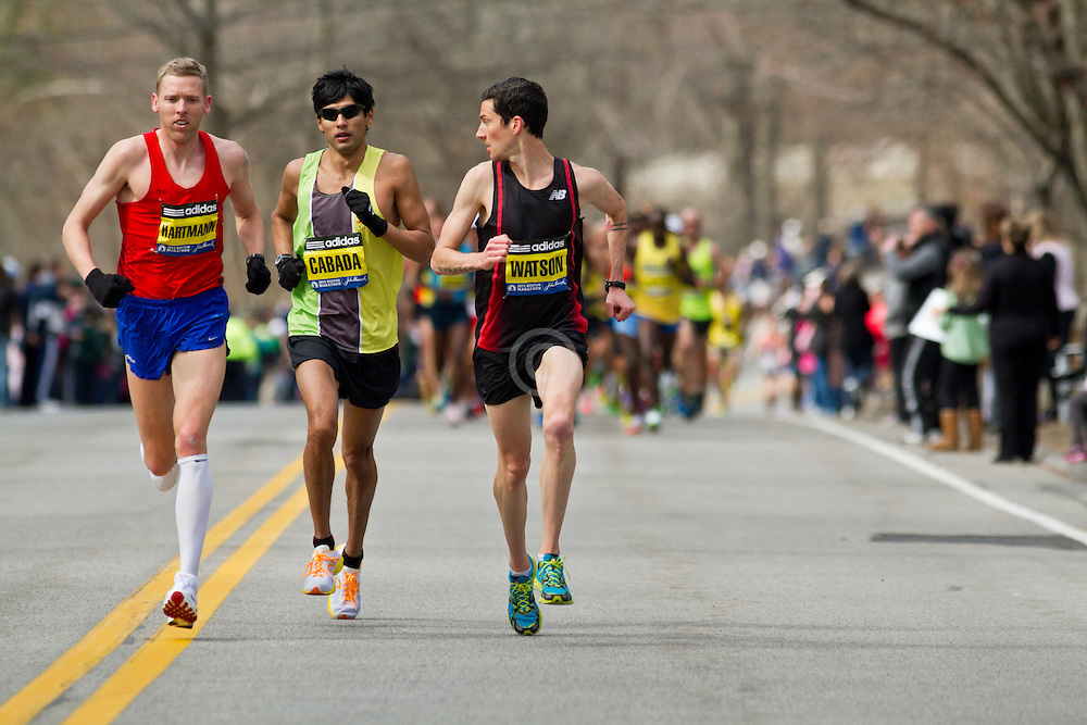 2013 Boston Marathon: Robin Watson, Canada looks back at Americans Hartmann, Cabada as they lead race early