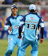 CAPE TOWN, SOUTH AFRICA - 20 April 2008, Farhaan Behardien and Francois du Plessis celebate the Titans win during the Standard Bank Pro 20 Semi Final match between The Nashua Cape Cobras and Nashus Titans held at Sahara Park Newlands in Cape Town, South Africa...Photo by www.sportzpics.net