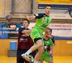 09.12.2014, Sporthalle, Leoben, AUT, OeHB-Cup Achtelfinale, Union JURI Leoben vs SG INSIGNIS Handball West Wien, im Bild Alexander Hermann (West Wien), Sasa Barisic Jaman(Leoben, Fabian Posch (West Wien) // durning the OeHB-Cup, Round of the last sixteen, between, Union JURI Leoben vs SG INSIGNIS Handball West Wien at the Sport Hall, Leoben, Austria on 2014/12/09, EXPA Pictures © 2014, PhotoCredit: EXPA/ Dominik Angerer
