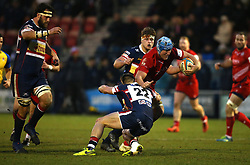 Jordan Crane of Bristol Rugby is tackled by Charlie Foley of Doncaster Knights - Mandatory by-line: Robbie Stephenson/JMP - 13/01/2018 - RUGBY - Castle Park - Doncaster, England - Doncaster Knights v Bristol Rugby - B&I Cup