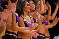 09 November 2012:The Laker Girls perform as the Los Angeles Lakers play the Golden State Warriors during the Lakers 101-77 victory over the Warriors at the STAPLES Center in Los Angeles, CA.