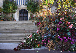 The fallen floral display which has been blown over by the high winds on the West Steps outside St George's Chapel ahead of the wedding of Princess Eugenie to Jack Brooksbank at St George's Chapel in Windsor Castle.
