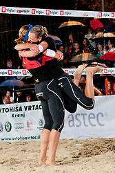 Andreja Vodeb and Martina Jakob celebrate winning national championship at Zavarovalnica Triglav Beach Volley Open as tournament for Slovenian national championship on July 30, 2011, in Kranj, Slovenia. (Photo by Matic Klansek Velej / Sportida)