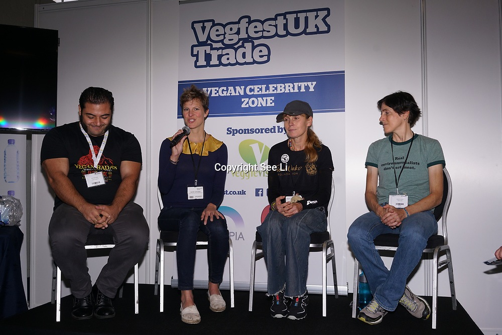 London, England, UK. 20th October 2017. Patrol Baboumian - Vegan strongman, Kate Strong - vegenfest triathlete,, Fiona Oakes - ultra marathon, Christine Vardaros - Vegan cyclist talk for Vegan Sports Stars at The First VegfestUK Trade at Olympia London, UK