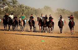 September 16, 2016 - Dair Al Balah, Gaza Strip, Palestinian Territory - Palestinians ride horses during a Bedouin festival in Dair Al Balah in the central Gaza Strip September 16, 2016  (Credit Image: © Ashraf Amra/APA Images via ZUMA Wire)