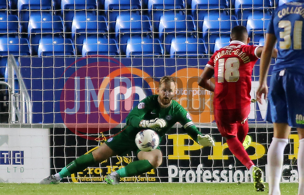 Karlan Ahearne-Grant of Charlton Athletic scores a penalty past Ben Alnwick of Peterborough United - Mandatory byline: Joe Dent/JMP - 07966386802 - 25/08/2015 - FOOTBALL - ABAX Stadium -Peterborough,England - Peterborough United v Charlton Athletic - Capital One Cup - Second Round