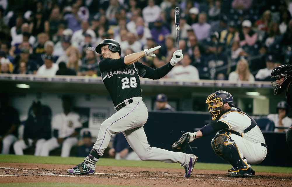 San Diego, CA - JUNE 04:   Nolan Arenado at bat in the First inning during game against the Padres at Petco Park during game with the San Diego Padres San Diego, California.  (Sandy Huffaker for ESPN)