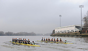 Putney, GREAT BRITAIN,  left, crew Personality and crew Looks  race along the Fulham Wall, as both crews approach Craven Cottege, Fulham Football clubs ground, during the 2008 Varsity/Cambridge University Trial Eights, raced over the championship course. Putney to Mortlake, Tue. 16.12.2008. [Mandatory Credit, Peter Spurrier/Intersport-images..Crew Personality. Bow Dan SHAUGHNESSY, 2. Shane O'MARA, 3. John CLAY, 4. Ryan MONAGHAN, 5. Fred GILL, 6. Deaglan McEACHERN, 7. Hardy CUTBASCH, stroke,. Rob WEITEMAYER and cox Rebecca DOWBIGGIN...Crew Looks;.Bow James STRAWSON. 2. Joel JENNINGS, 3. Code STERNAL, 4 Peter MARSLAND, 5. George NASH, 6. Henry PELLY, 7. Tom RANSLEY, stroke Silas STAFFORD and Cox Helen HODGES.. Varsity Boat Race, Rowing Course: River Thames, Championship course, Putney to Mortlake 4.25 Miles,