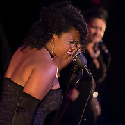 "Singer ""Honeychild"" performs with Vaud and the Villains at The Music Hall in Portsmouth, NH. July 2012."