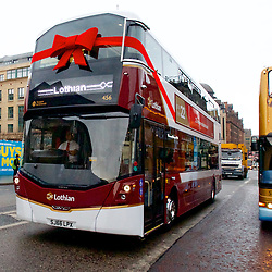 Edinburgh receives an early Christmas present from Lothian Buses with the arrival of 25 brand new buses.  Operating on route 22 the custom built buses feature USB charting pints, high backs and larger windows. The Euro 6 Volvo double deckers will meet strict emissions standards and help raise air quality in Edinburgh. (c) Brian Anderson | Edinburgh Elite media