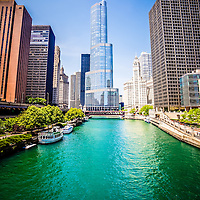 Photo of downtown Chicago with Trump Tower, Michigan Avenue Bridge (DuSable Bridge) and Chicago River. Photo was taken in May 2010 and is high resolution.
