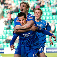 Hibs v St Johnstone.....30.04.11<br /> Kevin Moon celebrates his goal with Jordan Robertson<br /> Picture by Graeme Hart.<br /> Copyright Perthshire Picture Agency<br /> Tel: 01738 623350  Mobile: 07990 594431
