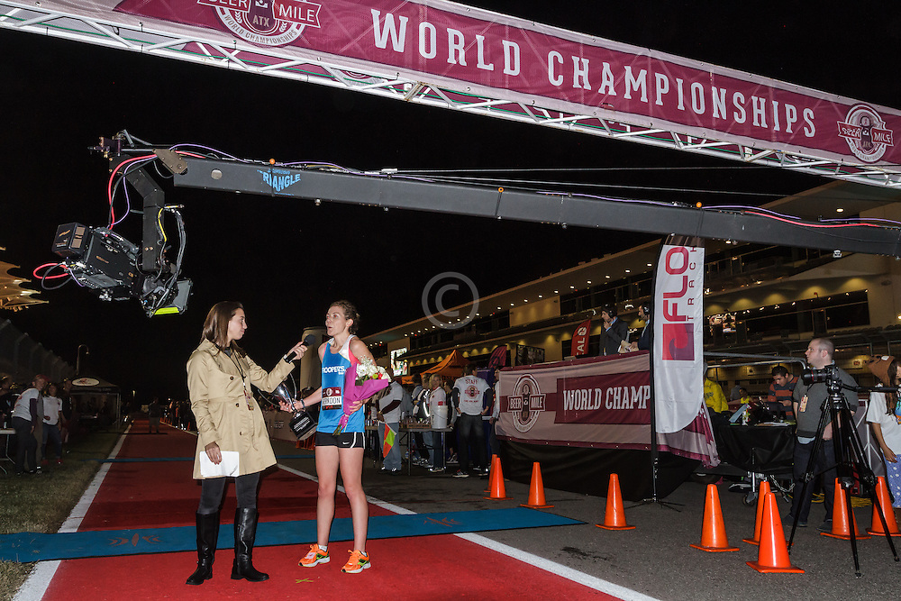 Beer Mile World Championships, Inaugural, Women's Elite race, Elizabeth Herndon wins, sets new world record, accepts prizes, TV
