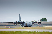RAF Hercules, Lockheed Martin C-130 Hercules C4/C5, 4-engine turboprop military transport aircraft at RAF Brize Norton Air Base, UK
