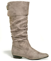 women's fioni tall suede boot with buckle and low heel
