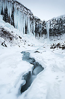 Svartifoss waterfall in winter. Skaftafell National Park, Southeast Iceland.