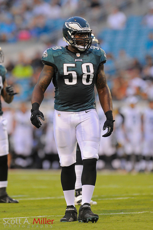 Philadelphia Eagles defensive end Trent Cole (58) during a preseason NFL game against the Jacksonville Jaguars at EverBank Field on Aug. 24, 2013 in Jacksonville, Florida. The Eagles won 31-24.<br /> <br /> &copy;2013 Scott A. Miller