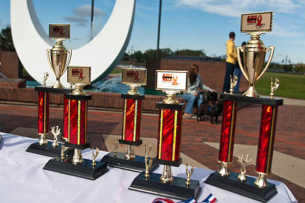 Lathan Goumas | The Bay City Times..Awards sit on a table during the AIDS Walk in Bay City, MI., on Saturday September 24, 2011. According to organizers they had more then 675 registered participants in the fundraising event.