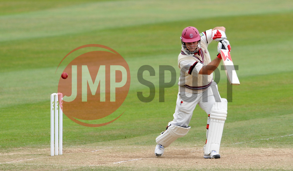 Somerset's Jim Allenby drives the ball. - Photo mandatory by-line: Harry Trump/JMP - Mobile: 07966 386802 - 17/06/15 - SPORT - CRICKET - LVCC County Championship - Division One - Day Four - Somerset v Nottinghamshire - The County Ground, Taunton, England.