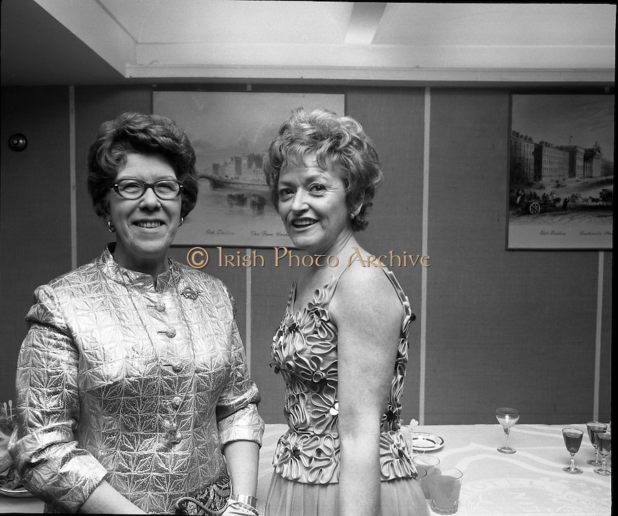 St Patrick's Day Ball, The Gresham Hotel.1971..17.03.1971..03.17.1971..17th March 1971..To celebrate our National Day a ball was held in the Gresham Hotel,Dublin. Mr Ben Briscoe T.D. (Fianna Fail) was on hand to greet the visitors to our shores..Posing for a picture at the ball were Mrs Grace Monaghan,Wiesbaden, Germany and Mrs F.A.Ryan of London.