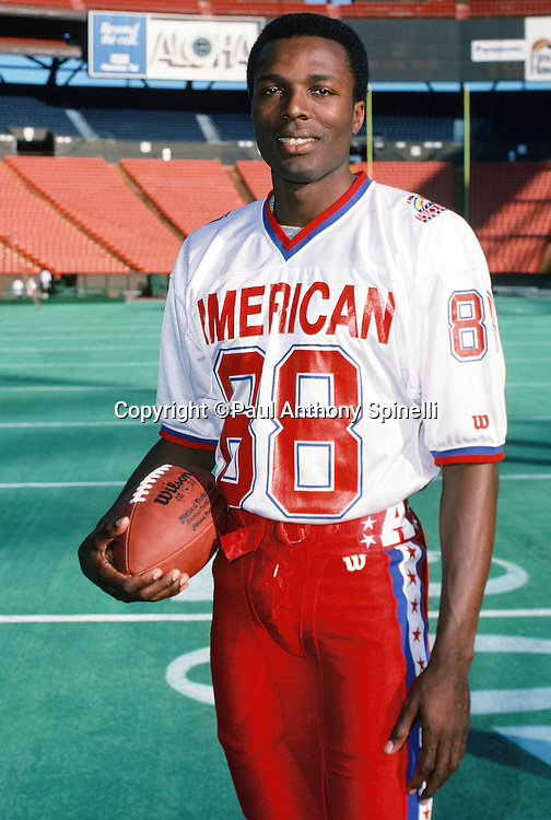The American Football Conference New York Jets wide receiver Al Toon (88) poses for a photo during photo day the week before the 1989 NFL Pro Bowl football game against the National Football Conference on Jan. 24, 1989 in Honolulu. The NFC won the game 34-3. (©Paul Anthony Spinelli)
