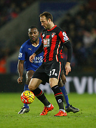 Wes Morgan of Leicester City (L) and Glenn Murray of Bournemouth in action  - Mandatory byline: Jack Phillips/JMP - 07966386802 - 02/01/2016 - SPORT - FOOTBALL - Leicester - King Power Stadium - Leicester City v AFC Bournemouth - Barclays Premier League