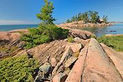 Georgian Bay's rocky shoreline<br /> Killarney Provincial Park<br /> Ontario<br /> Canada