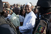 BANJUL, GAMBIA - JAN 26: Gambia's President Adama Barrow arrives at Banjul International Airport after being sworn-in in neighbouring Senegal, on 26 January 2017 in Banjul, Gambia.