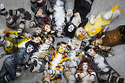 UNITED KINGDOM, London: 25 October 2015 Fans of Cats the Musical lie on the floor on the final day of the MCM London Comic Con at the ExCel Arena in east London. The three day event, which finishes today is said to have brought 130,000 comic con fans and cosplay enthusiasts. Rick Findler / Story Picture Agency