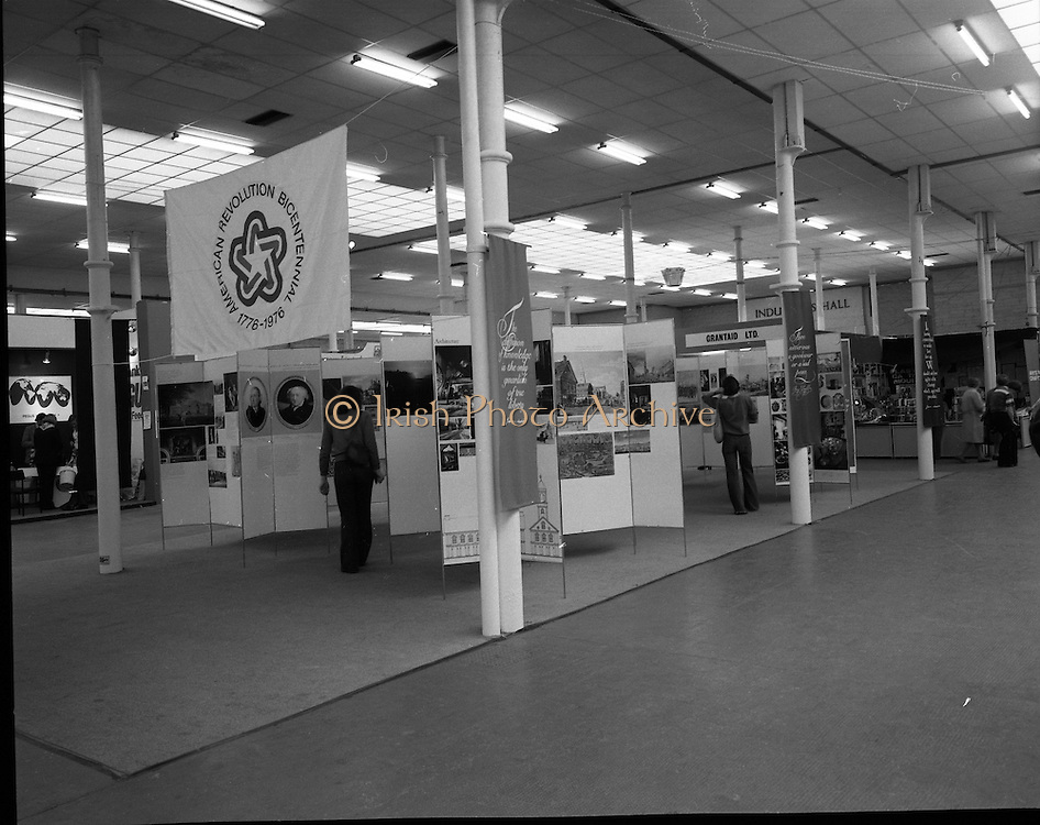 US Embassy -Life, Liberty and the Pursuit of Happiness. Horse Show .05/08/1976.08/05/1976.5th August 1976.Members of the public view the US Embassy Stand at the RDS Horse Show which celebrates Americas Bicentennial.