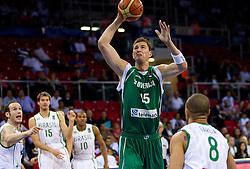 Primoz Brezec of Slovenia during  the Preliminary Round - Group B basketball match between National teams of Slovenia and Brasil at 2010 FIBA World Championships on September 1, 2010 at Abdi Ipekci Arena in Istanbul, Turkey. (Photo By Vid Ponikvar / Sportida.com)