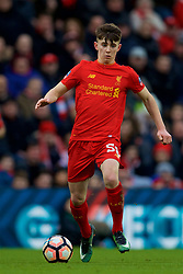 LIVERPOOL, ENGLAND - Saturday, January 28, 2017: Liverpool's Ben Woodburn in action against Wolverhampton Wanderers during the FA Cup 4th Round match at Anfield. (Pic by David Rawcliffe/Propaganda)