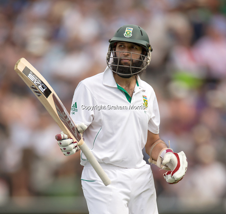 Hashim Amla walks off (out) after his century during the third and final Investec Test Match between England and South Africa at Lord's Cricket Ground, London. Photo: Graham Morris (Tel: +44(0)20 8969 4192 Email: sales@cricketpix.com) 19/08/12