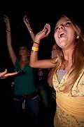 HAPPY PRETTY BLOND GIRL DANCING
