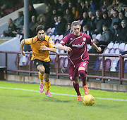 Arbroath's Jordan Lowdon races away from Annan's Rabin Omar  - Arbroath v Annan Athletic, Ladbrokes SPFL League two at Gayfield<br /> <br />  - &copy; David Young - www.davidyoungphoto.co.uk - email: davidyoungphoto@gmail.com
