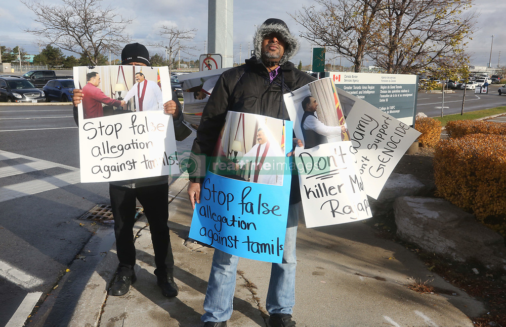 November 3, 2018 - Mississauga, Ontario, Canada - Members of the Sri Lankan Tamil community protest against Indian politician Dr. Subramanian Swamy's visit to Canada on November 03, 2018 in Mississauga, Ontario, Canada. Swamy has been a vocal critic of the LTTE and is vociferously anti-Tamil Nadu and Tamil diaspora. Subramanian Swamy, in one of his televised interviews while in Colombo, told a local channel that the UN investigation into genocide that took place during the Sri Lankan civil war would be of no more consequence to Sri Lanka than a swarm of pesky mosquitoes. 'Simply swat them away,' he advised the Government. (Credit Image: © Creative Touch Imaging Ltd/NurPhoto via ZUMA Press)