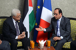06.08.2015, Sueskanal, EGY, Sueskanal Kanal Erweiterung, im Bild Palästinenserpräsident Mahmud Abbas trifft sich mit Französisch Präsident Francois Hollande bei den Feierlichkieiten zur Sueskanal Erweiterung // Palestinian President Mahmoud Abbas meets with French President Francois Hollande on the sidelines of events inaugurating the new additions to the Suez Canal, in Ismailia, Egypt, August 6, 2015. Egypt staged a show of international support on Thursday as it inaugurated a major extension of the Suez Canal which President Abdel Fattah al-Sisi hopes will power an economic turnaround in the Arab world's most populous countr. Photo by Thaer Ganaim, Egypt on 2015/08/06. EXPA Pictures © 2015, PhotoCredit: EXPA/ APAimages/ Thaer Ganaim<br /> <br /> *****ATTENTION - for AUT, GER, SUI, ITA, POL, CRO, SRB only*****