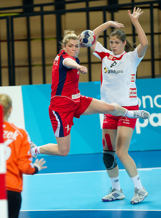 London Handball Cup - GB vs Austria - Zoe van der Weel (GB), Beate Scheffknecht (AUT)