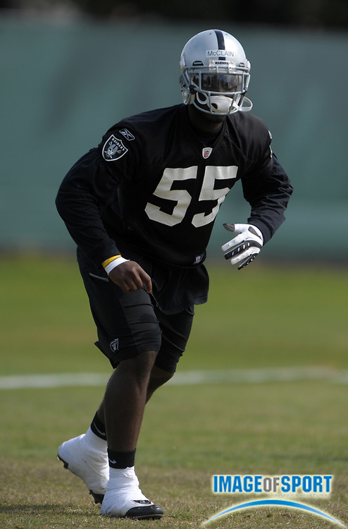 May 26, 2010; Alameda, CA, USA; Oakland Raiders rookie linebacker Rolando McClain (55) at organized team activities at the Oakland Raiders practice facility.