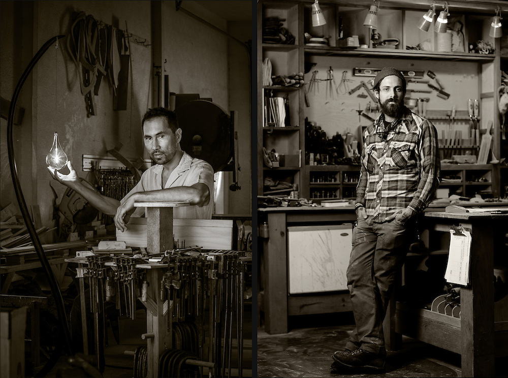 Michael Wilson, photographed at his workshop outside of Wimberley, Texas.<br /> David Clark, photographed at his workshop in Austin, Texas.